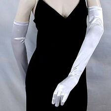 "Long Satin Opera Gloves Stretch 23"" Bridal Wedding Prom Formal Costume  - G163"