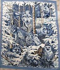 SNOW WOLF Fabric panel MID WINTER DREAM QUILT TOP  wall hanging FREE SHIPPING