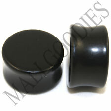 """0465 Double Flare Saddle Solid Black Acrylic Ear Plugs Earlets 3/4"""" Inch 20mm"""