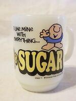 Vintage Anchor Hocking Ziggy Cartoon Coffee Mug Cup Cream & Sugar