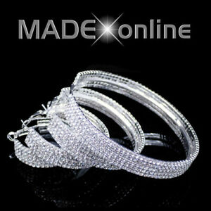"""Large Chunky Bling Hoop Earrings, Big Wide Sparkle """" Small Diamante Stones """""""