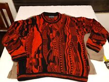 Tundra Canada Mens Coogi style Textured Sweater Sz Medium red black 90s Hip Hop