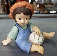 Vintage Nina Marco Goebel Boy with Soccer Ball Bisque Figurine