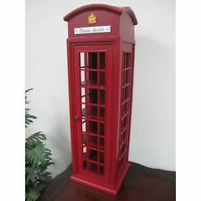 British Telephone Display Case Mini London Booth Wood Storage Mahogany Furniture