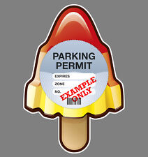 PARKING PERMIT Holder ROCKET LOLLY self-cling window graphic, decor - Freepost