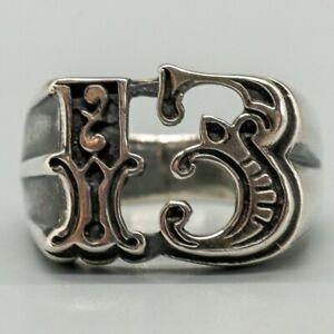3D Carnival Lucky 13 Ring .925 silver Ladies Mens Biker Sizes M - Z Heavy