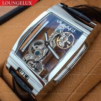 Mens Flywheel Skeleton Exhibition Manual Mechanical Wrist Watch Silver Chrome