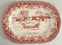 """222 Fifth POINSETTIA TOILE 14"""" Oval Serving Platter 10409152"""