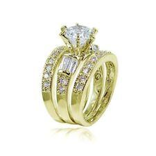 Women's 925 Sterling Gold Wedding Band Princess Bridal Engagement Ring 3pc Set