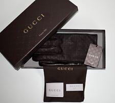 GUCCI Herren Handschuhe Size M ( 9,5 ) dunkelbraun Guccissima-Leder Nappa Neu