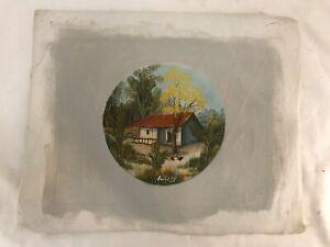 Mid Century Impressionist Original Art Oil Painting Farm Cabin Signed Levy Vtg**
