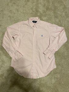 Ralph Lauren Medium Men's Medium Classic Fit Pink Check Long Sleeve Button Up