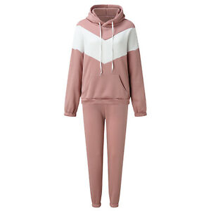 Sporty Women's Colorblock Long Sleeves Hoodie Casual Long Jumpsuit Outfits 2pcs