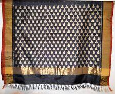 SILK IKAT Poochampalee Saree Sari Blouse Gold Tone Tussar Black Red Designer NEW