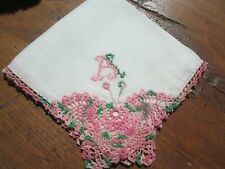 """Vtg White Handkerchief with""""A"""" monogram in Pink & Green. Pink Butterfly Corner"""