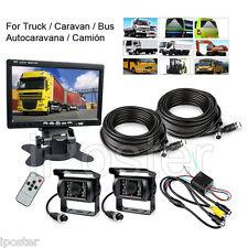 "HD 7"" Rear View Monitor+2x Night Vision Backup Camera 4-Pin 33 FT For Truck RV"
