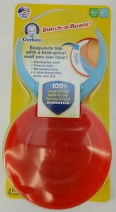 4 pack GERBER BUNCH-A-BOWLS Leakproof Snap Lock Lids Age 4+ months NEW