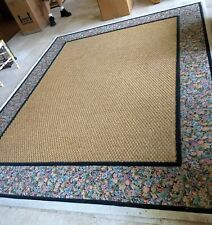 8' x 10' twine/rope/jute? center w/ floral border Area Rug