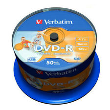 50 DVD-R PRINTABLE 50 Pezzi Verbatim STAMPABILI 100 % Vuoti Azo 16X 4.7GB 43533