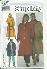 S 8312 sewing pattern adult & teen COAT in 3 lengths, HOOD sew bust/chest 35-36½