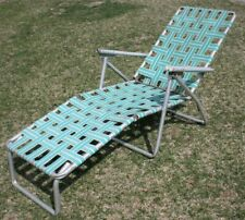 Vintage Mid Century Lounge Chair Webbing Style Aluminum Lawn Folding Turquoise