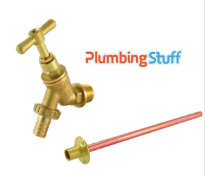 """1/2"""" BIB TAP BRASS for garden / outdoors / hose - w/ through wall pipe and plate"""
