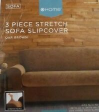 HOME 3 pc Oar Brown Stretch Sofa Slipcover $130 NIP