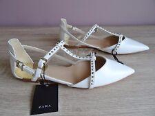 Zara Blanc Clous d'Orsay Plates Chaussures Taille UK 7 EU 40 USA 9
