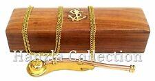 Brass-Copper-Boatswain-Wh istle-With-Wood-Box-Bosun- Call-Pipe-Nautical-Maritim e C