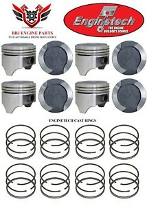 Ford 400 Modified V8 Enginetech Dish Top Pistons (8) With Rings 71 - 82