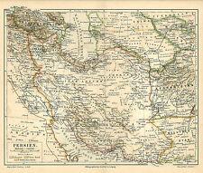 Alte historische Landkarte 1890: Persien Russisches Türkisches Reich (M4)