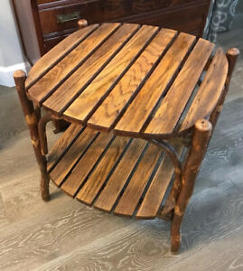 Rustic Hickory &Oak Oval End Table - Amish Made in Colorado, USA Fabulous!