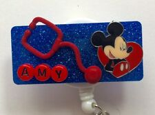 PERSONALIZED MICKEY MOUSIE OFFICE TEACHER NURSE RN ID REEL BADGE HOLDER