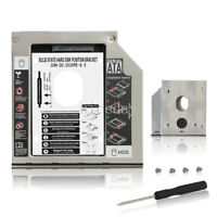 """9.5mm Aluminum 2nd HDD Caddy SATA To SATA Case For Laptop 2.5"""" HDD DVD/CD-ROM"""