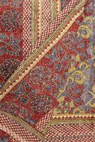 Vintage Indian Pure Silk Kantha  Saree Fabric Hand Embroidered Printed Sari