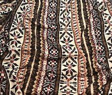 Rayon Challis Fabric - Peach & Brown Tribal Stripe Geometric 1/3 yd remnant