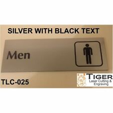 ENGRAVED BATHROOM SIGN: MEN BATHROOM WITH SYMBOL - 20CM X 6.8CM OR 8IN X 2.67IN
