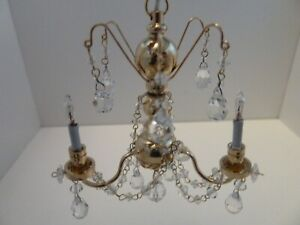 Dolls House Lighting 12V Miniature 1:12th Scale 3 Arm Real Crystal Chandelier