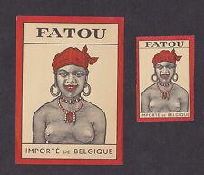 ancienne étiquette allumettes   Belgique  BN13591 Fatou Afrique Femme