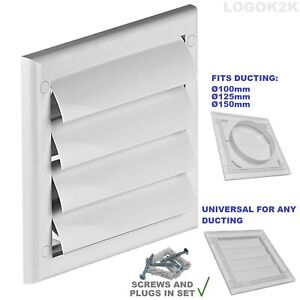 Gravity Flaps Louvre Cover Air Vent Grill White Ventilation Duct Fan Wall Grille