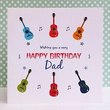 HANDMADE Personalised BIRTHDAY CARD Guitars & Music -Dad Son Brother Daddy Uncle