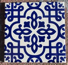 """12~Talavera Mexican tile pottery hand painted 6"""" hand made blue cobalt cream"""