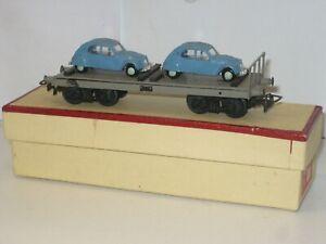 Wagon chargé de 2 Citroen 2cv  fabrication VB échelle ho très bon état