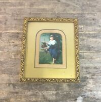 Framed 19th Century European Oil On Panel Painting Of Young Girl At Fountain