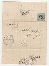 STORIA POSTALE 1853 STATO PONTIFICIO 1 BAJ BORDO DI FOGLIO SU BUSTAAMELIA Z/3772