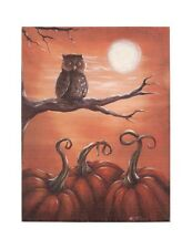 Radiance Halloween Be Wise Owl Canvas~Wall Hanging/Picture/Pumpkin/Moon/Plaque