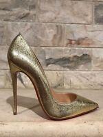NIB Christian Louboutin So Kate 120 Gold Nappa Pepite Leather Heel Pump Shoe 35