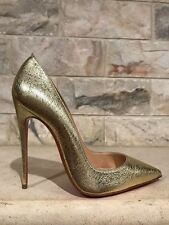 NIB Christian Louboutin So Kate 120 Gold Nappa Pepite Leather Heel Pump Shoe 39