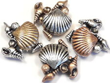 4 - 2 HOLE SLIDER BEADS TRI COLOR MIXED METAL CLAM SHELL & SEA SHELLS BEACH BEAD