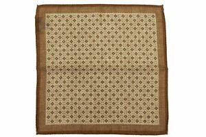 Battisti Pocket Square Mushroom brown with diamond pattern, pure wool